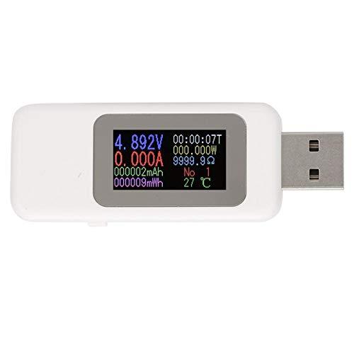 Probador USB, pantalla LCD Probador USB Detector de cargador Voltímetro digital Amperímetro Medidor de voltaje DC4-30V 0-5.1A(blanco)
