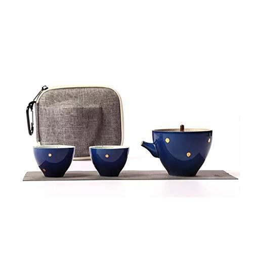 Ding Juego de té de Viaje Tetera Individual portátil de 130 ml, con Taza de té de Viaje para automóvil 40 ml, Taza rápida, una Tetera y Dos Tazas (Color : Dark Blue)