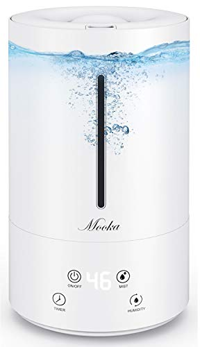 MOOKA Cool Mist Humidifier with Humidistat, Smart Control Air Humidity, Easy Clean Top Fill 4.5L Large Tank, Ultrasonic Humidifiers for Plant, Baby, Home, Office, Bedroom, Large & Small Room, 3 Mist Level, Sleep Friendly, Quiet & Concealed, No Filter Required, Auto Shut-Off, 14-40 Hours per Fill