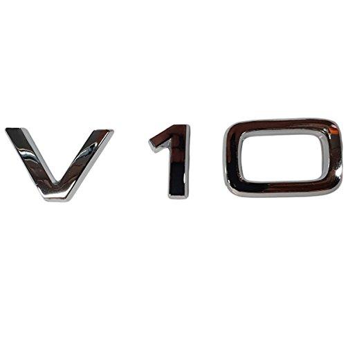 Ctronic Aile Fender avant arrière V10 Argent chromé brillant de coffre badge Logo Emblème Autocollant adhésif Hb5r1