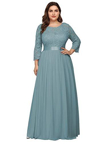 Ever-Pretty Vestiti da Cerimonia Donna Linea ad A Pizzo Chiffon Girocollo Manica Lunga Taglie Forti Abiti da Ballo Blu Polveroso 58