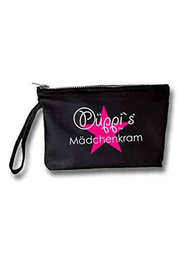 Kosmetiktasche Püppi´s Mädchenkram 240g/m² mit Reißverschluß und Innentasche, waschbar, OneSize (Schwarz)