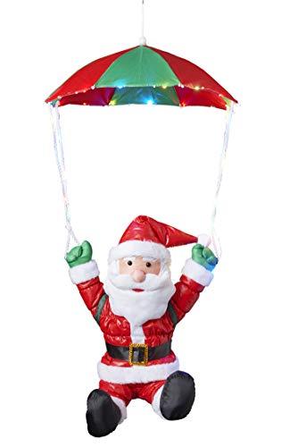 Bonetti Weihnachtsmann am Fallschirm mit 30 bunten LEDs beleuchtet, Fliegender Nikolaus für Innen- und Außen, mit Timer (traditionell - Fallschirm)