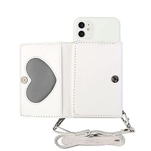 Miagon Coque Collier pour iPhone 13 Mini,PU Cuir Portefeuille Cover Bumper Housse Case Cordon avec Porte-Cartes Supporter Stand Tour de Cou Lanière,Blanc