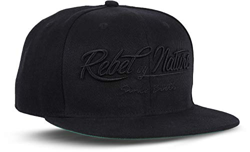 Rebel by Nature RC2 - Snapback Cap Font Mütze Unisex Kappe Hat Sport Baseball 100% Acryl - Collection No1-6Panel ORIGINAL Rebel (DEEP-Black)