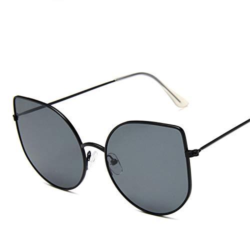 Gafas de Sol Sunglasses Nuevas Gafas De Sol Retro Metal Cat Eye Gafas De Sol Lady Vintage Black Transparente Marco C1Anti-UV