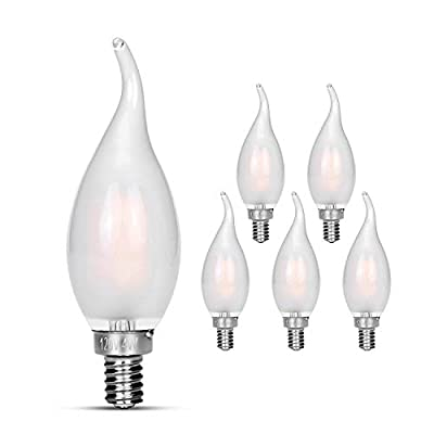Candelabra LED Bulbs 40w Equivalent Improve Flame tip Frosted Glass E12 Base Warm White Decoration E12 LED Bulb Dimmable 6 pack
