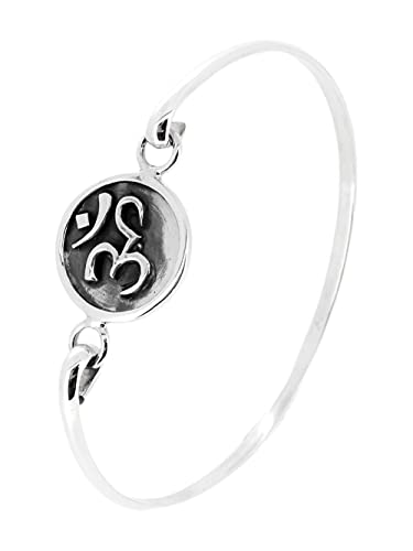 TreasureBay Stunning Women's Ohm, OM Silver Bangle Bracelet, Yogis Silver Bangle