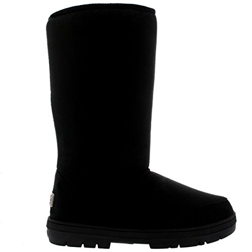 Mujer Original Tall Classic Fur Lined Impermeable Invierno Rain Nieve Botas - Negro - 39