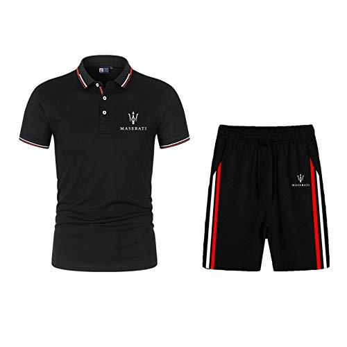 Dawnc Polos Hombre Sets para Mas.e-r.ati Manga Corta Camiseta Pantalones con Botones, Respirable, para Deporte y Oficina T-Shirt (XS,Black)