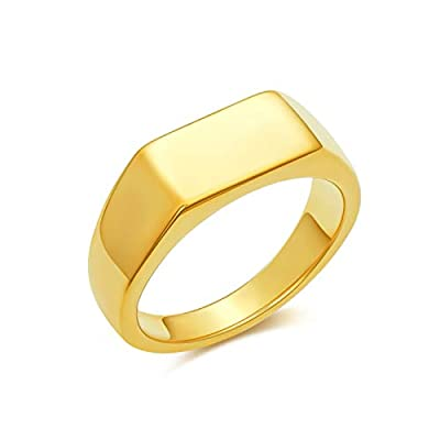 Amazon - 77% Off on 14K Gold Plated Signet Rings for Women Gold Chunky Signet Rings