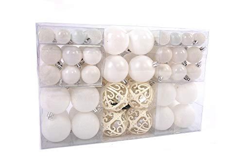 Lifestyle & More 100 Pezzi Palle di Natale Bianco Decorazioni per Alberi di Natale