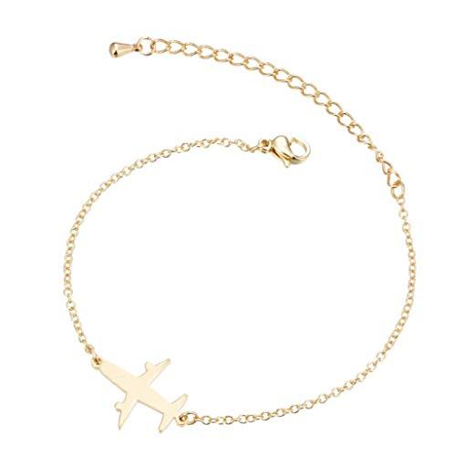 MiniJewelry - Pulseras ajustables de acero inoxidable para mujer y niña dorado