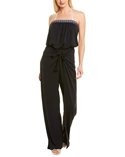 La Blanca Women's Strapless Jumpsuit Swimsuit Cover Up, Black Moon//Macrame Solids, X-Large