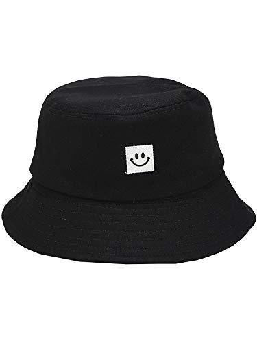 Romacci Damen Hut Fischer Hut Smiley Gesicht Sonnenhut Eimer Hut Hip Pop Casual Outdoor UV Schutz Beach Cap Faltbar Fischerhut