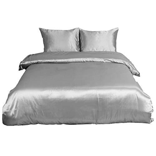 YeVhear Juego de funda de edredón con 2 fundas de almohada, juego de ropa de cama de poliéster suave satinado, juego de funda de edredón de satén, liso, con cierre de