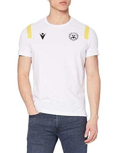 Macron UDI M20 T-Shirt Pregara Cotton-Poly Mm BIA/Gia SR, Udinese Calcio 2020/21 Uomo, Bianco, M