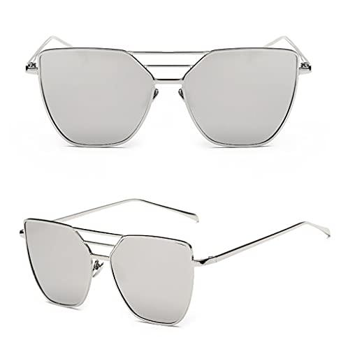 U/N Gafas de Sol de piloto con Espejo de Oro Rosa con Parte Superior Plana para Mujer, Gafas de Sol de aviación Vintage de Moda para Mujer-6