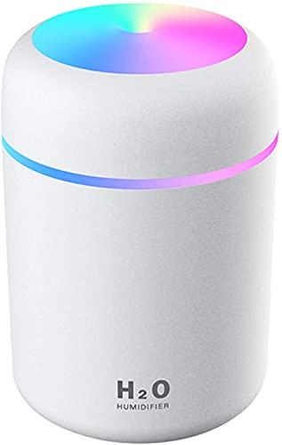 Luftbefeuchter, Mini USB Ultraschall Humidifier mit 300ml Wassertank, Automatische Abschaltung und Super leise, Bunter Cooler Nachtlichtfunktion für Auto, Büroraum, Schlafzimmer (Weiß)
