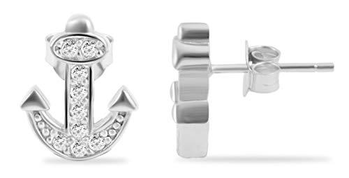 Giulia Luna GL5200106 Oorstekers voor dames, 925 zilver, anker, gerhodineerd, oorbellen