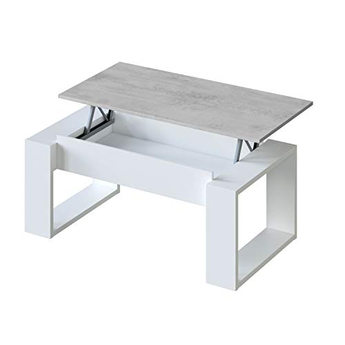 Habitdesign 0L1643A - Mesa de Centro Elevable, Mesita de Salon, Comedor, Modelo Nova, Acabado en Blanco Artik y Cemento, Medidas: 105 cm (Largo) x 55 cm (Ancho) x 45-54 cm (Alto)