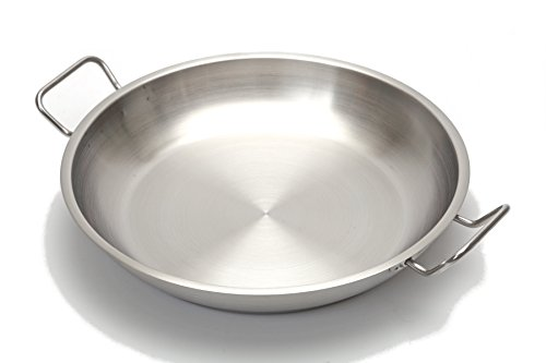 Professional 12.5 Inch. Paella Pan Stainless Steel - Heavy Duty.