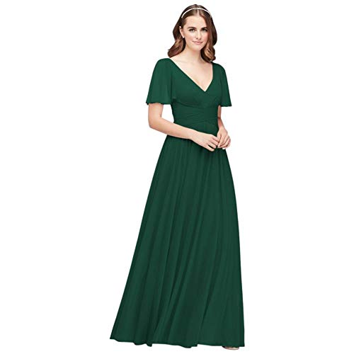 David's Bridal Flutter Sleeve Crisscross Mesh Bridesmaid Dress Style F19933, Juniper, 4