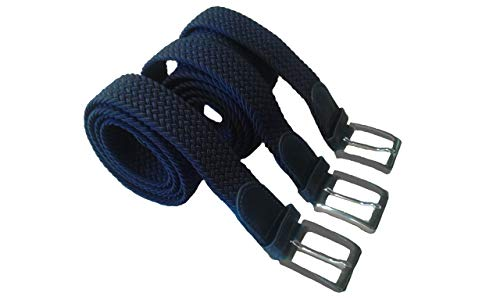 HW 3 Stück Marineblaue elastische geflochtene dehnbare Stretchgürtel mit 120 cm Gesamtlänge und 3,5 cm Breit.