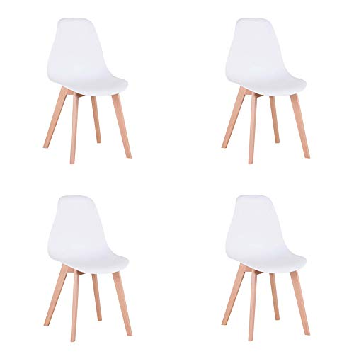 Pack de 4 sillas Comedor, sillas de diseño nórdico con Patas en Madera Maciza, sillas para Sala de Estar, Cocina, Oficina (Blanco-4)