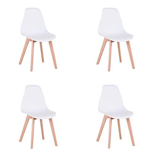 GrandCA Set di 4 sedie, sedie in Stile Nordico con Gambe in Legno massello, sedie per Soggiorno, sedie per Cucina,sedie per Ufficio (Bianco)