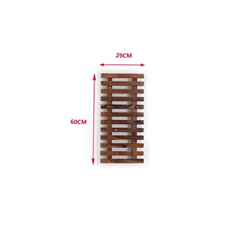 Udfybre Anseptic Wood Wall Adornment Flower Rack, Can Hang Basket, Can Rimb Rattan, Balançoire en Bois Massif Suspendu en Pot de Fleurs, 5 Tailles en Option (Taille : 60 cm)