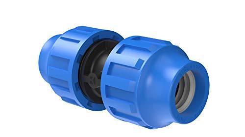 Kirchhoff Verbindungsstück   Kunststoff   20 x 20 mm   für HDPE Rohr   3X 5X Fittinge   Verschiedene Größen   DVGW geprüft   Trinkwasserqualität   Made in EU, schwarz, 20 mm