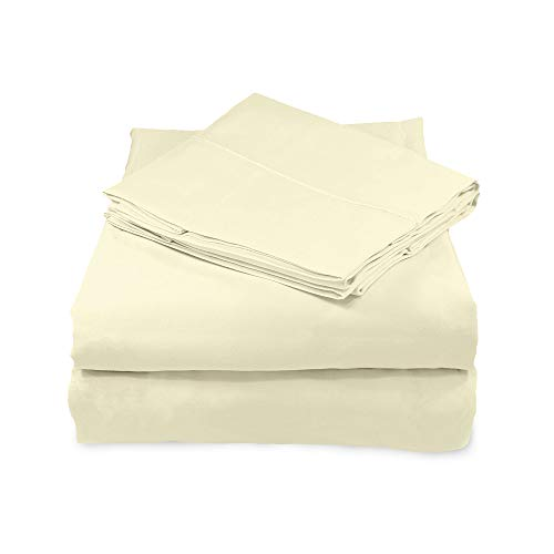 Whisper Organics, 100% Organic Cotton Sheets - 300 Thread Count Bed Sheets Set - Premium Quality Hypoallergenic Sheets - Deep Pocket Twin Sheet Set - GOTS Certified, Natural (Queen Size)