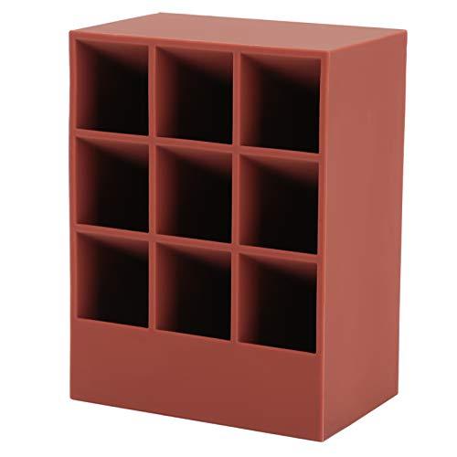 Présentoir portable pour rouge à lèvres - Boîte à 9 compartiments - Rouge et marron