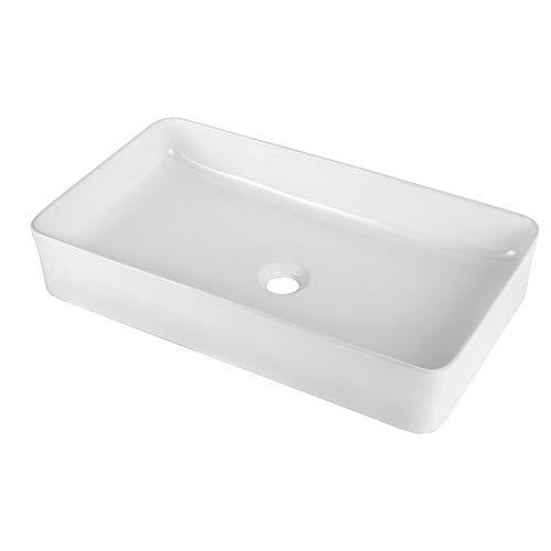 Vessel Sink Rectangle - Sarlai 24'x14' Modern Rectangular Above Counter White Porcelain Ceramic Bathroom Vessel Vanity Sink Art Basin