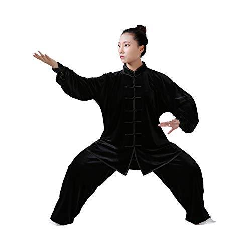 GEGEQ® Tai Chi Chuan Chinese Kung Fu vechtsporten kleding oefenkleding Tai Chi kleding natuurlijk linnen katoenen verdikking plus fluwelen pak geschikt voor mannen en vrouwen (6,L)