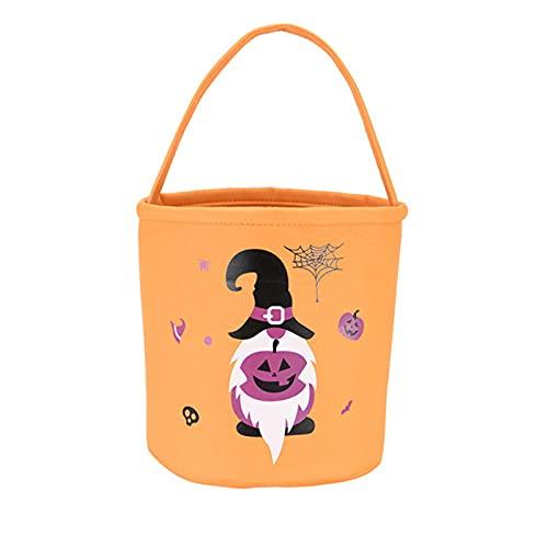 Lovimoon Halloween Pumpkin Buckets, Halloween Kids Treat Pumpkin Candy Bags, Personalized Trick or Treat Bucket Bag with Collapsible Handle, Pumpkin Pattern Candy Basket for Supplies
