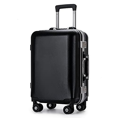 GIVROLDZ Valigia Trolley per Bagagli con Telaio in Alluminio da 20 Pollici, Valigia Ricaricabile USB con Custodia per Check-in Password, per Viaggi d'Affari Scuola di Viaggio,Nero