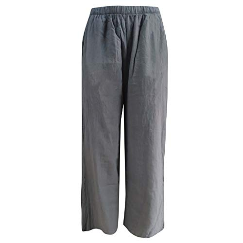 KPPONG Hose Damen Groß Leinen Weite Hose Leinenhose Stoffhose in Unifarben Freizeithose Yogahose Ballonhosen