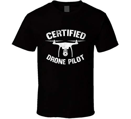 Certificato Drone Pilot Divertente Grafica Vintage Stile Distressed T Shirt Nero Verde XL