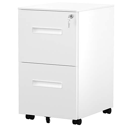 YITAHOME 2-Drawer Rolling Filing Cabinet Office Drawers, Lockable Office Storage Cabinet with Hanging Bar, Pre-Assembled Steel Pedestal Cabinet Under Desk (White)
