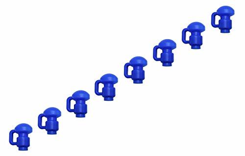 Upper Bounce UBPC-B-1.5D-8 8er Set Stangen-Kappen Mit C-Haken Zum Fixieren Von Trampolin-netzen, Blau, 1.5 Zoll/3.8 cm