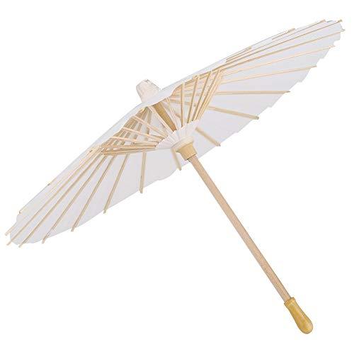 Papier paraplu - Paper parasol voor decoratieve lade in wit 5 stuks