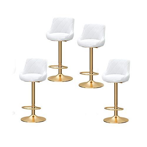Zestaw 4 stołków barowych, z oparciem, flanelowy stołek barowy, obracany o 360°, mechaniczne winda, stołek kuchenny, z chromowanymi nóżkami i podstawą, śniadanie bar, kuchnia meble mieszkalne (kolor : biały)