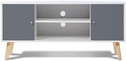 IDMarket - Meuble TV EFFIE scandinave bois blanc et gris