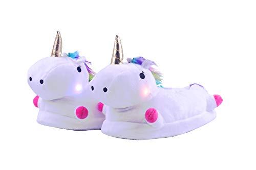 Zapatillas de Estar por Casa de Mujer Niños Unicornio Felpa Suave LED Luminoso Calentar Pelusa con Forro Acolchado Zapatos para Invierno Interior,Talla EU 34-41