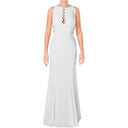 JVN by Jovani Womens Cut-Out Open Back Formal Dress White 6