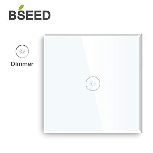 BSEED Dimmer Schalter Berühren Sie den Wandlichtschalter Ausgeglichenes Glas Platten Funktioniert mit Dimmbaren LED-Lichtern 1 Fach 1 Weg Weiß