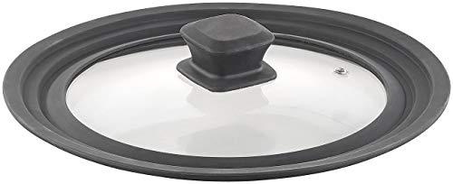 Rosenstein & Söhne Deckel: Universal-Silikonrand-Glasdeckel für Töpfe & Pfannen mit Ø 20-24 cm (Universaldeckel für Pfannen)
