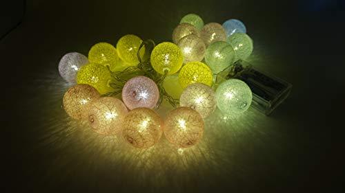 Beck's Home LEDストリングライト タンポン イルミネーションライト ストリングスライト 20球3.6m マカロン、点滅 点灯 電池式 防水防塵仕様 フェアリーライト 調光可能 ガーデンライト 屋内・屋外兼用 LED クリスマス装飾 飾り ジュ